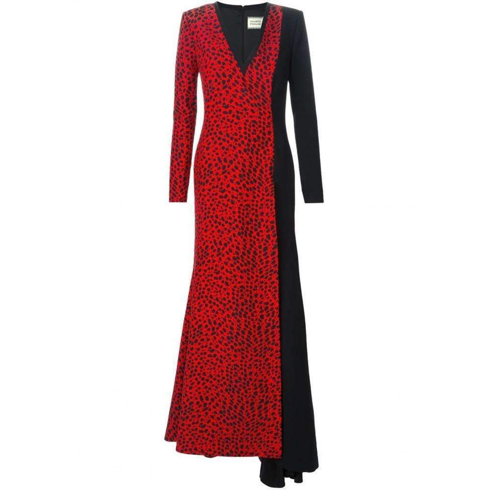 Fausto Puglisi Red Leopard Print Stretch Silk Gown