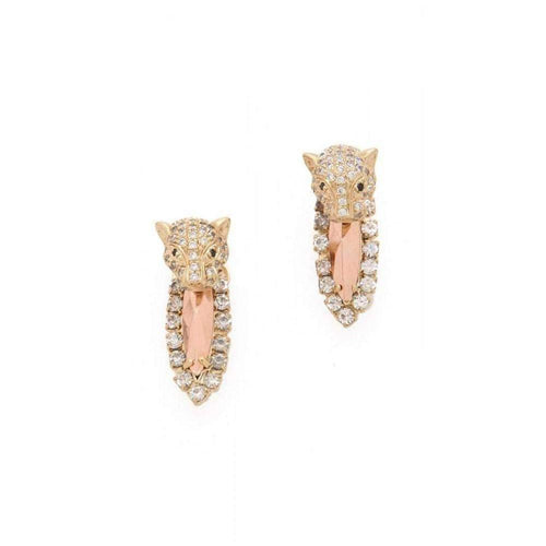 Iosselliani Brass Rhinestone Cheetah Head Earrings