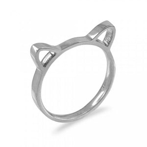 Kitten Silhouette Stackable Band in 9ct White Gold
