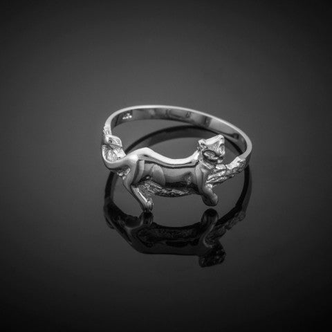 Lioness Ring in 9ct White Gold