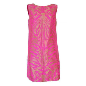 Manish Arora Pink & Gold Tiger Print Open Back Dress