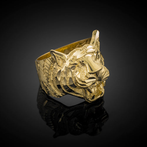 Men's Precision Cut Tiger Ring in 9ct Gold