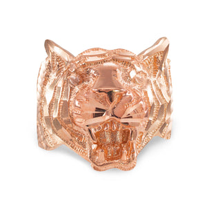 Men's Precision Cut Tiger Ring in 9ct Rose Gold