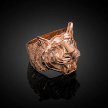 Load image into Gallery viewer, Men's Precision Cut Tiger Ring in 9ct Rose Gold