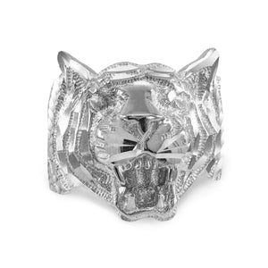 Men's Precision Cut Tiger Ring in 9ct White Gold