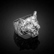 Load image into Gallery viewer, Men's Precision Cut Tiger Ring in 9ct White Gold