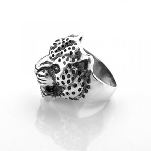Men's Panther Ring in Sterling Silver