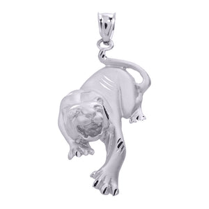 Precision Cut Matte Finish Tiger Charm Necklace in 9ct White Gold