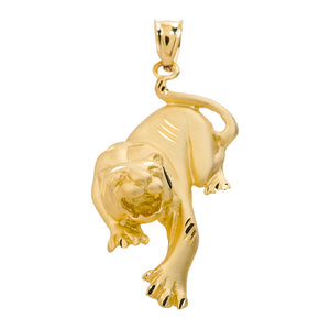 Precision Cut Matte Finish Tiger Charm Pendant Necklace in 9ct Gold