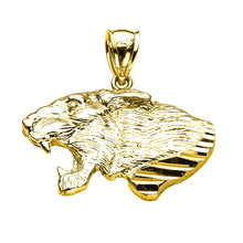 Load image into Gallery viewer, Precision Cut Roaring Lion Head Leo Zodiac Charm Necklace in 9ct Gold