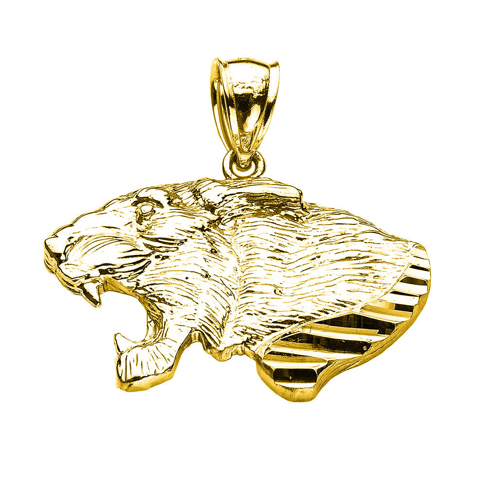Precision Cut Roaring Lion Head Leo Zodiac Charm Necklace in 9ct Gold