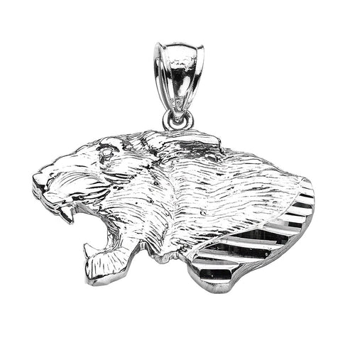 Precision Cut Roaring Lion Head Leo Zodiac Charm Necklace in 9ct White Gold