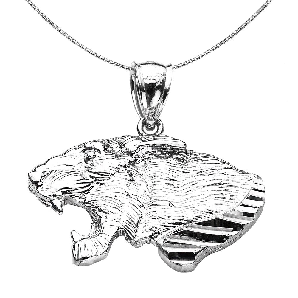 Roaring Lion Head Necklace in 925 Sterling Silver