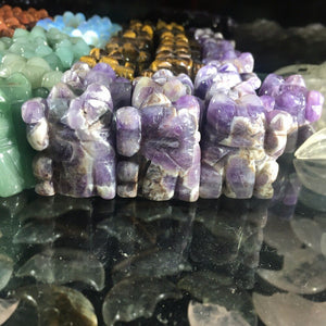 Natural Healing Stone Amethyst Fortune Cat