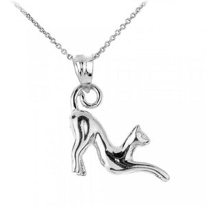 Stretching Cat Charm Pendant Necklace in 9ct White Gold