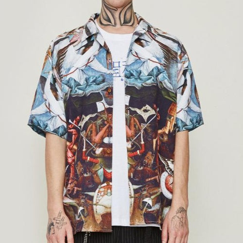 men's wear high street abstract art oil painting loose short sleeve shirt