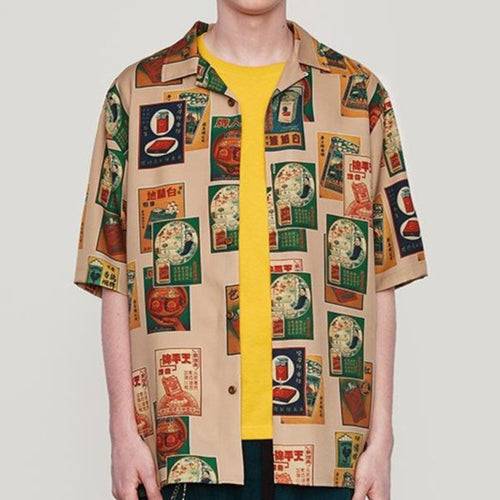 Men's Wear vintage printing loose shirt