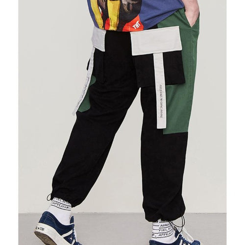 men's wear new fashion splicing ribbon casual overalls