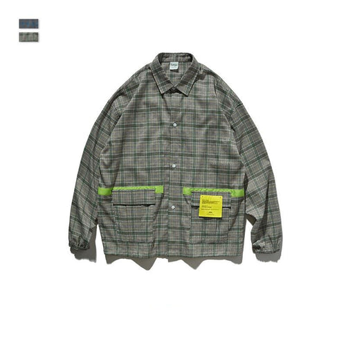 men's and women's clothing Street Printing Plaid long sleeve shirt