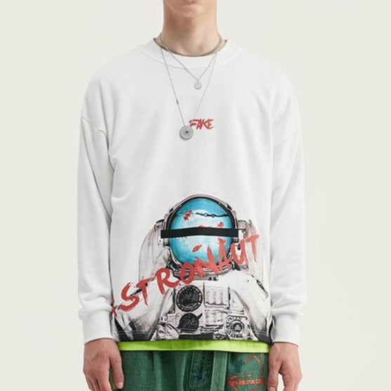 men's and women's wear high street astronauts printing loose collar casual sweatshirt