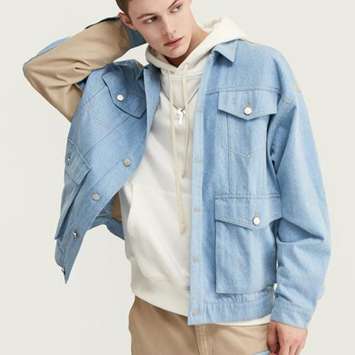 men's wear spring multi-pocket denim jacket