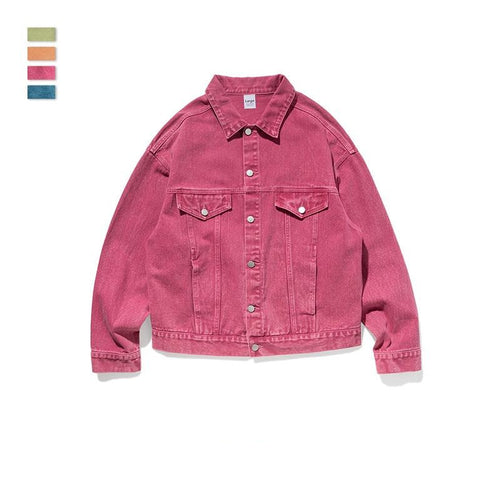 men's wear fashion solid color denim jacket coat