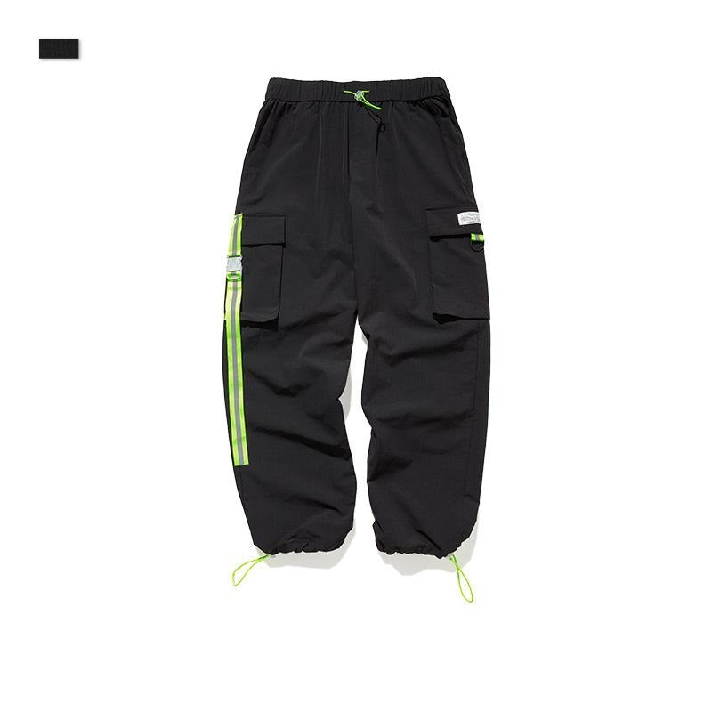 men's wear fluorescent green ribbon loose elastic pants
