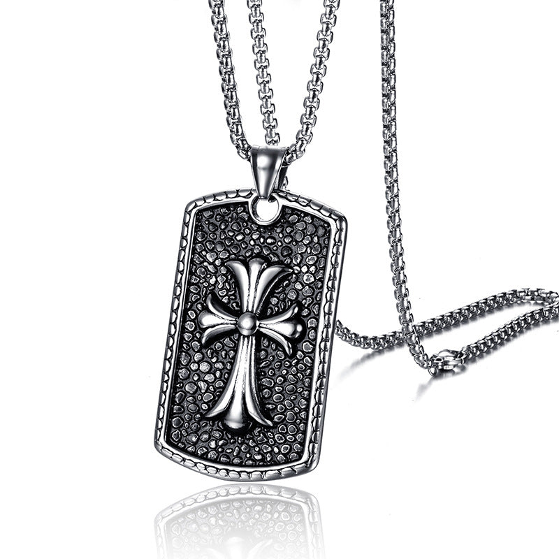 Men's accessories stainless steel necklace titanium steel cross military pendant