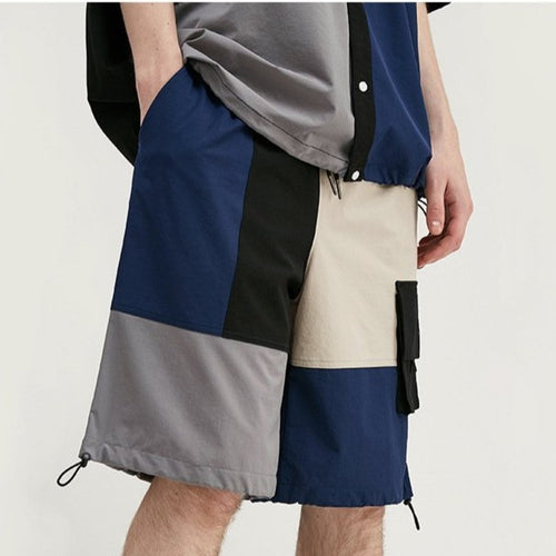 men's wear new fashion color block splicing loose windbreaker shorts