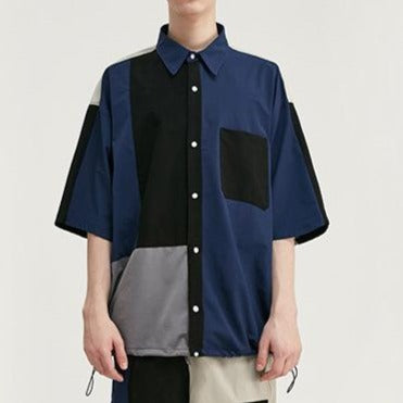 men's wear  color block splicing loose elastic windbreaker Shirt and shorts set