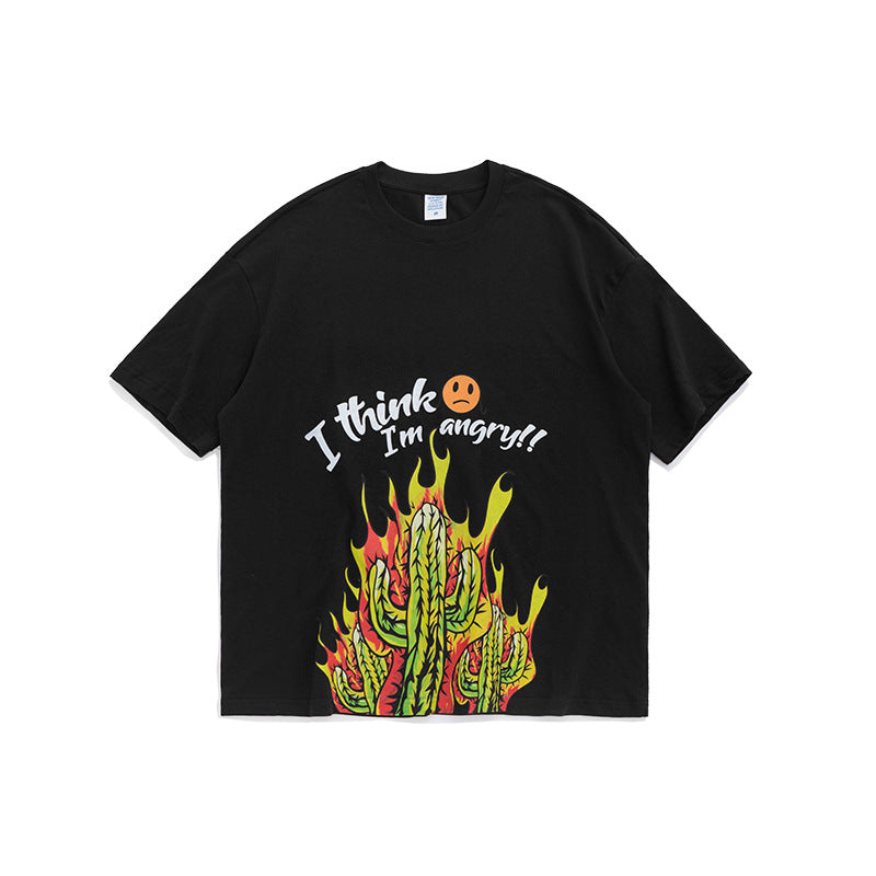 men's wear angry cactus cartoon plant printing loose short sleeve T-shirt