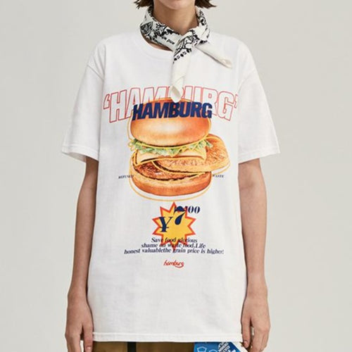 Men's and women's wear Burger Food Print T-shirt
