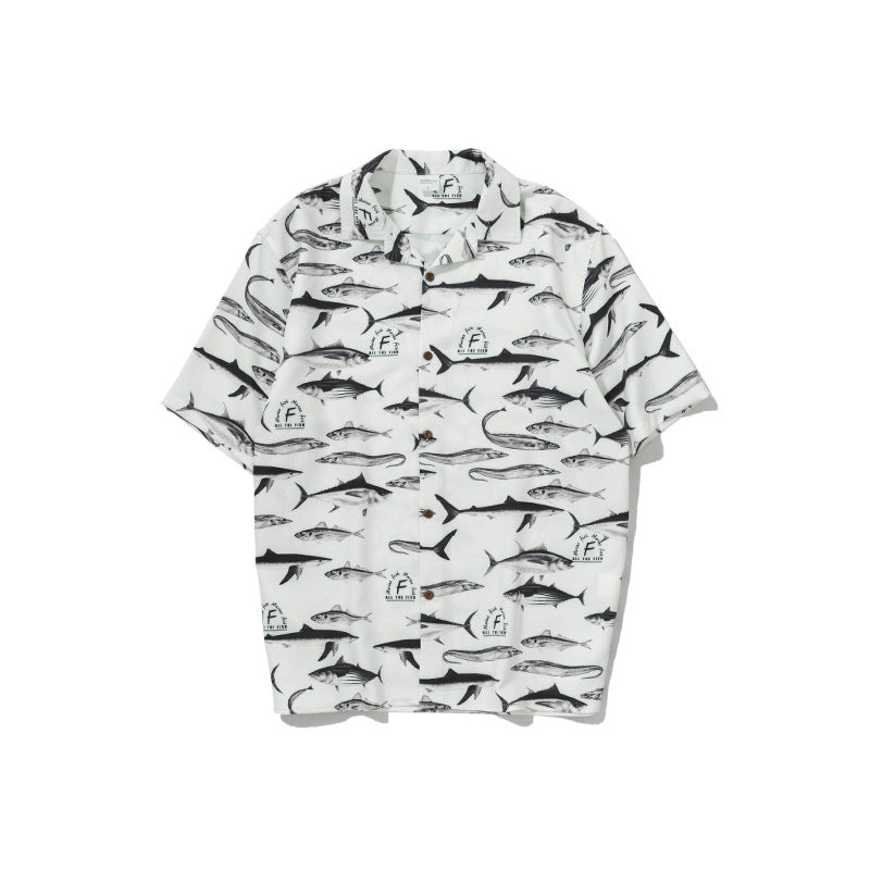 INF Men's Spring/Summer Fish Digital Printing Loose Short Sleeve Shirt