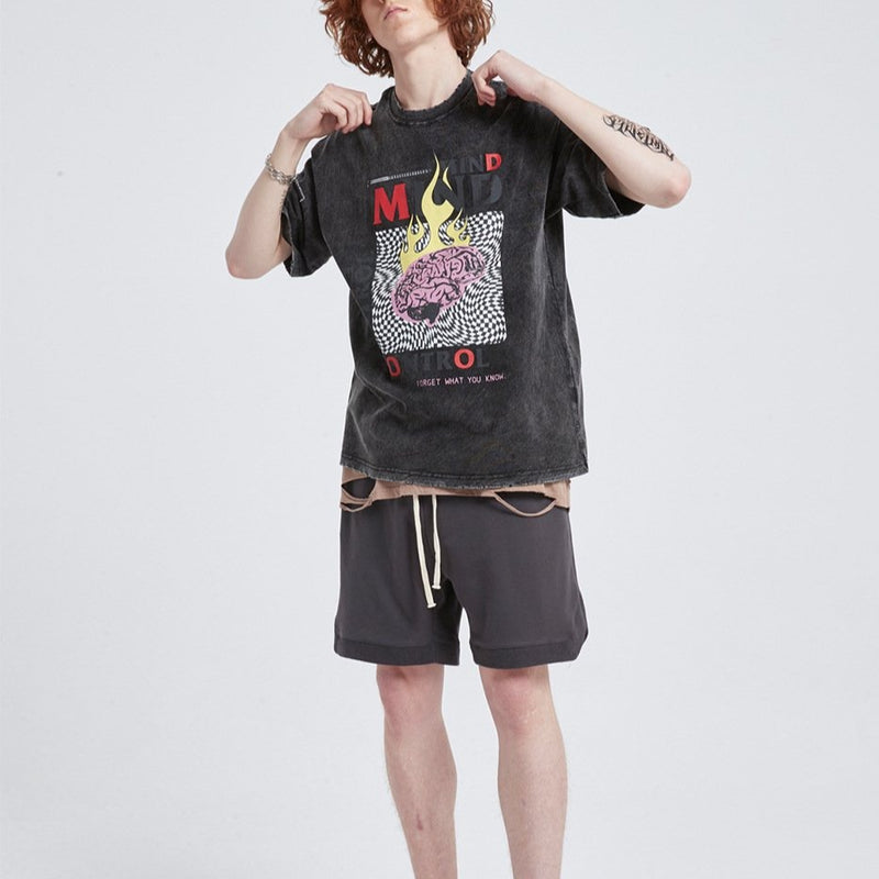 men's high street oversize loose cotton short sleeved t shirt