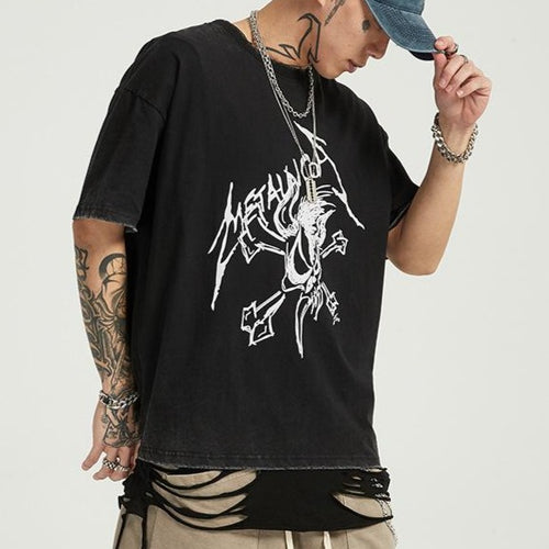 men's wear black double-sided rock and roll short sleeve T shirt