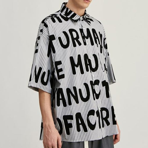 men's wear fashion street letters shirt
