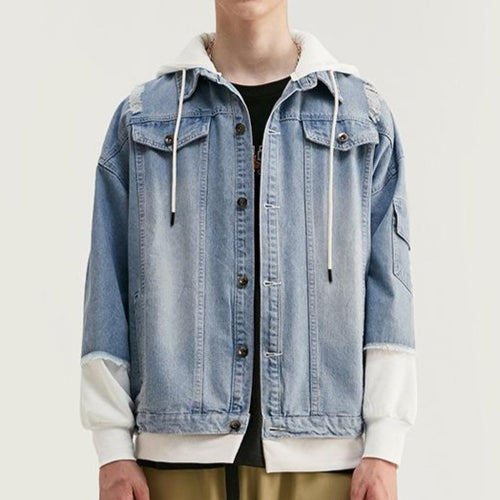 Men's Wear Denim Loose Cap Jacket