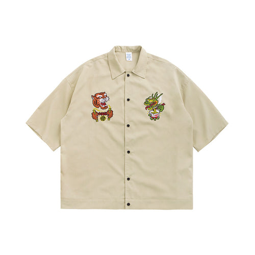 Men's Wear Chinese Dragon Tiger Embroidered Loose Short-sleeved shirt