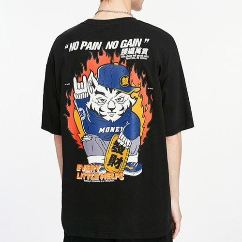 men's wear Fortune Cat Short Sleeve T-Shirt