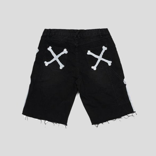 men's wear bone printing denim shorts