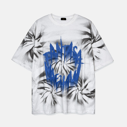 men's wear summer graffiti letters whirlpool tie-dyed T shirt