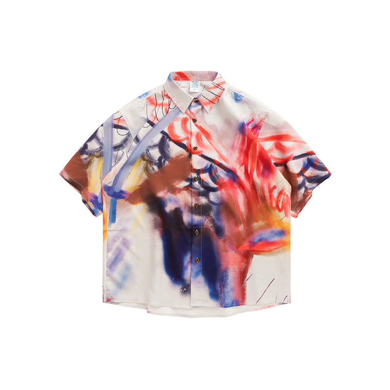 men's new fashion high street irregular Abstract Color loose Short Sleeve Shirt