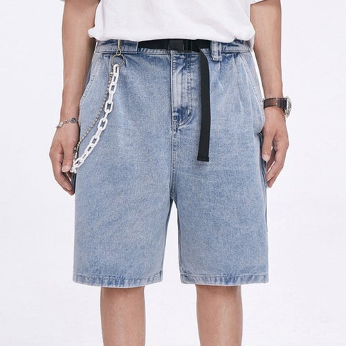 men's summer new buckle belt big pocket denim shorts