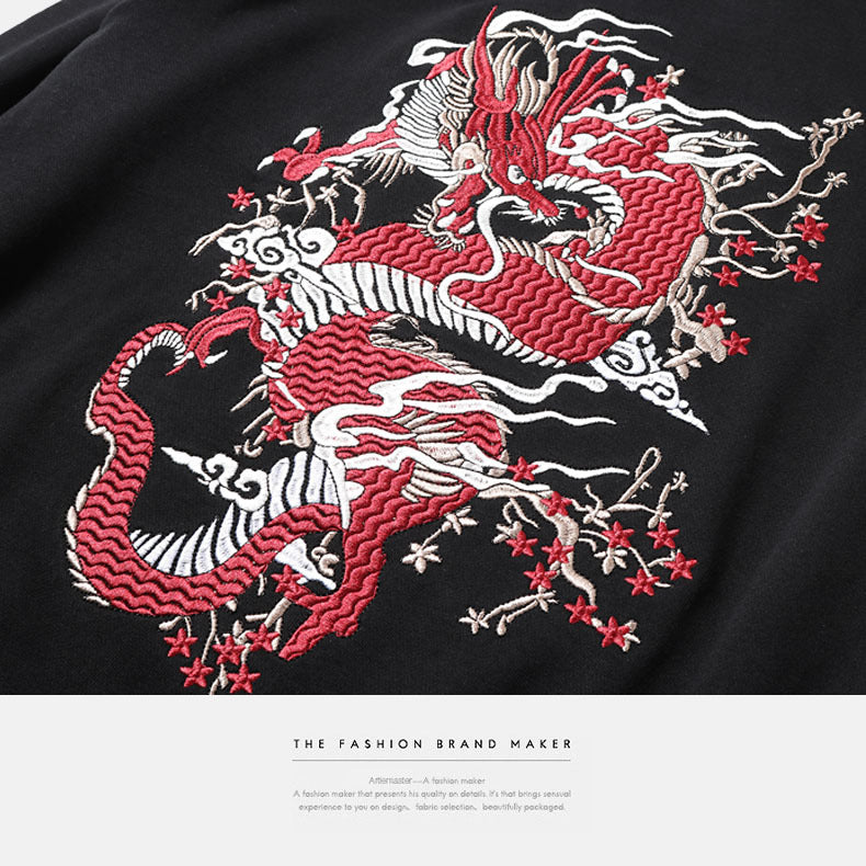 China dragon embroidered hooded sweatshirt