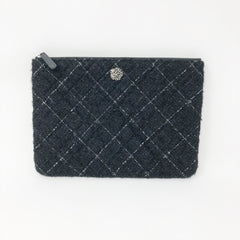 Bolsa Chanel de mano con tweed negro