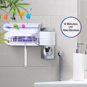 UV Light Sterilizer- Anti Bacterial Toothbrush Holder/ Automatic Toothpaste Squeezer