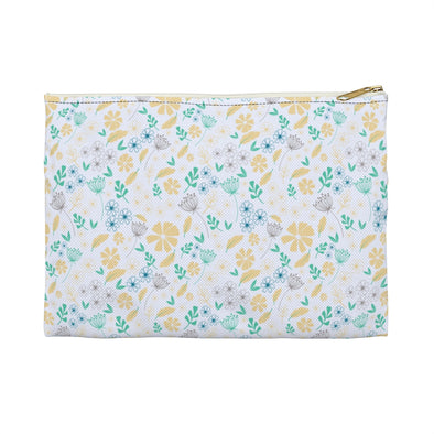 Hudson Zipper Pouch - Floral Feathers Sunlight/Biscay Green
