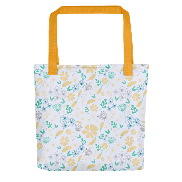Camden Tote Bag - Floral Feathers Sunlight/Biscay Green