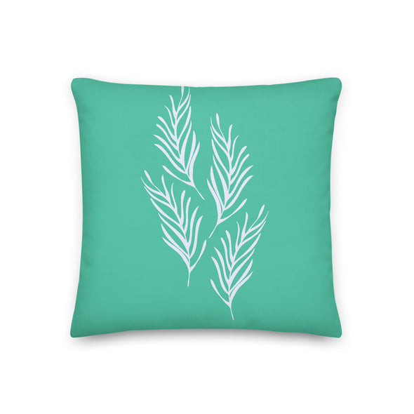 Lovely Leaves Illustration Biscay Green - Pillow