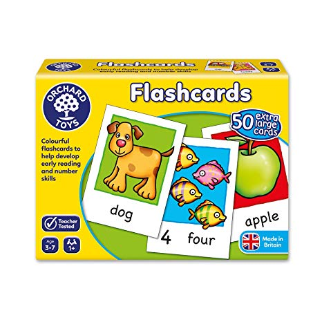 Orchard Toys 50 Large Double-sided Words Numbers Flashcards Kids Educational Toy
